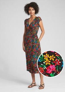 Gap Floral Print Midi Wrap Dress