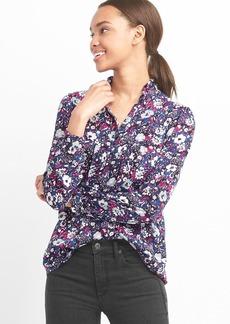 Floral ruffle collar shirt