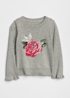 Gap Floral Ruffle Sweater