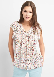 Gap Floral Short Sleeve Tie-Neck Blouse