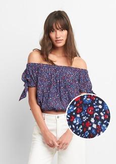 Gap Floral Tie-Sleeve Off-Shoulder Top