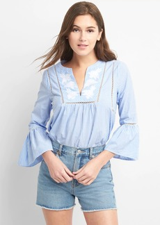 Flutter Sleeve Embroidery Stripe Blouse