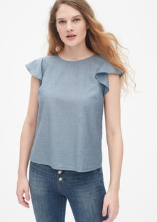 Gap Flutter Sleeve Top in Chambray
