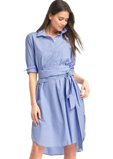 Front-tie midi shirtdress