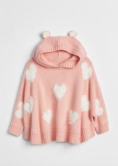 Gap Fuzzy Heart Hoodie Poncho