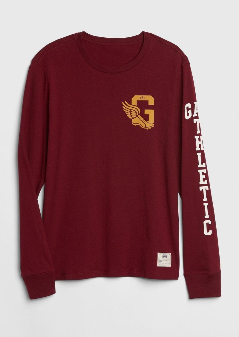 Gap Athletic Logo Long Sleeve Crewneck T-Shirt