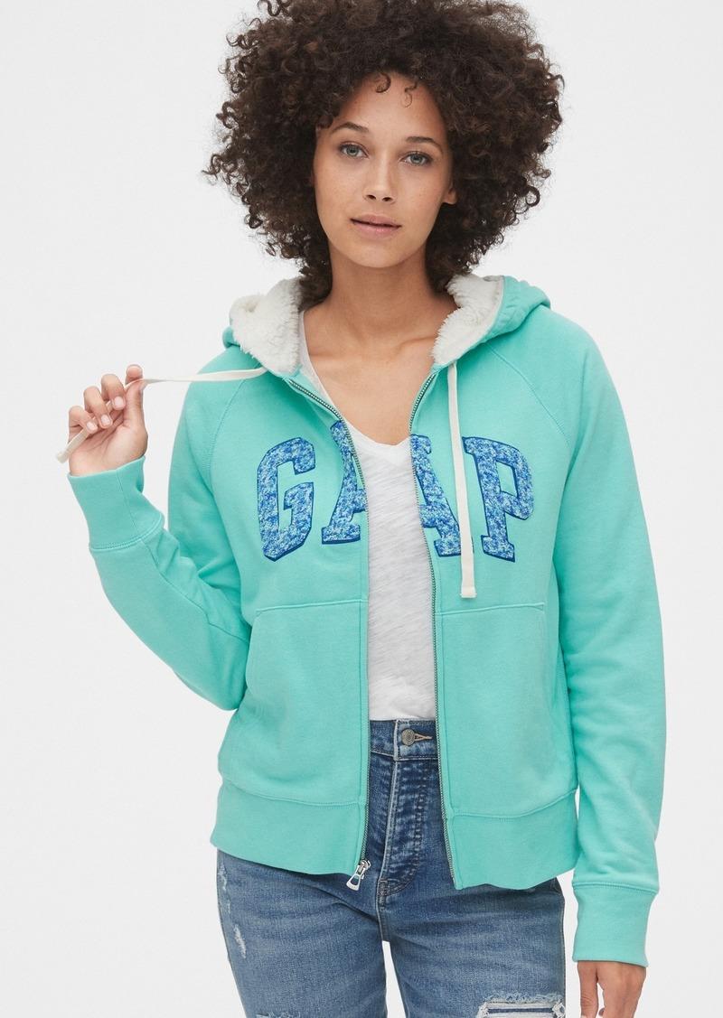 Gap Logo Sherpa-Lined Full-Zip Hoodie