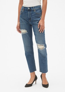 Gap High Rise Best Girlfriend Jeans in Distressed