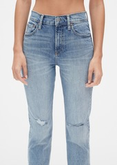Gap High Rise Cheeky Straight Jeans with Distressed Detail