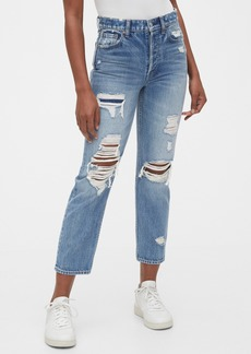 Gap High Rise Destructed Cheeky Straight Jeans