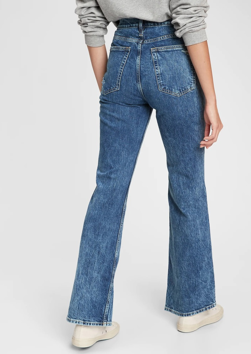 High Rise Destructed Vintage Flare Jeans