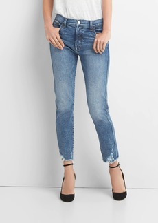 Gap High Rise Slim Straight Jeans with Distressed Detail