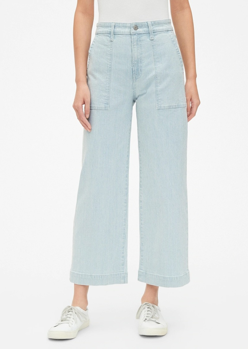 High Rise Stripe Wide-Leg Crop Jeans