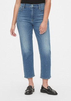 Gap High Rise Studded Cheeky Straight Jeans with Secret Smoothing Pockets