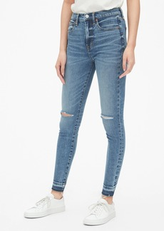 Gap High Rise True Skinny Ankle Jeans with Distressed Detail