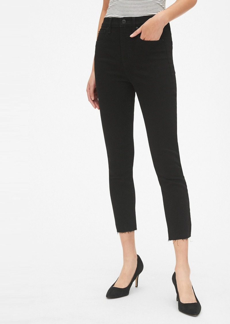 High Rise True Skinny Crop Jeans with Raw Hem
