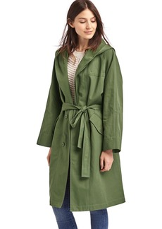 Hooded midi trench