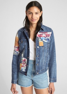 Gap Icon Denim Jacket with Mix-Camo Print Patchwork