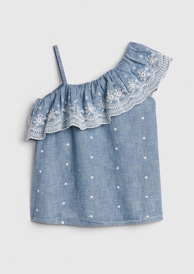 Gap Kids Chambray Eyelet Ruffle Top