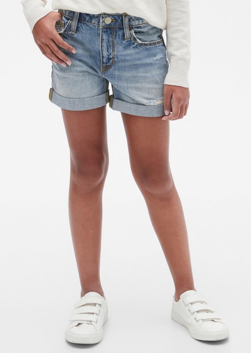 Gap Kids Destructed Denim Girlfriend Shorts