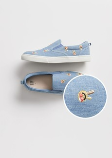 Gap Kids Embroidered Chambray Slip-On Sneakers