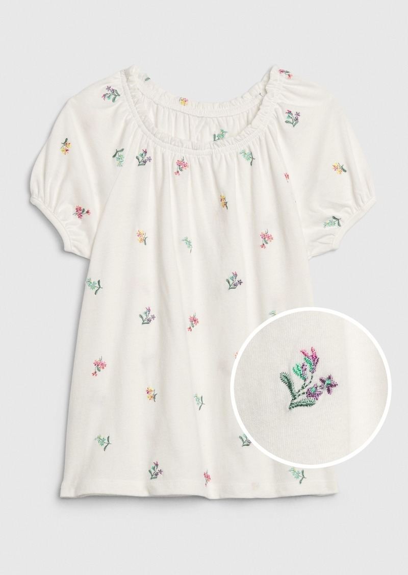 Gap Kids Embroidered Puff-Sleeve Top