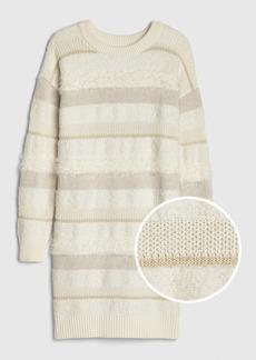 Gap Kids Fuzzy Metallic Sweater Dress