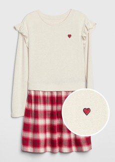 Gap Kids Heart Ruffle Mix-Media Dress