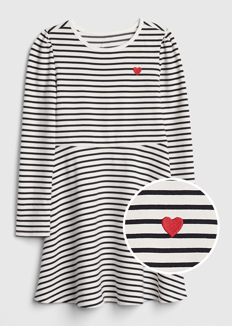 Gap Kids Heart Stripe Fit and Flare Dress