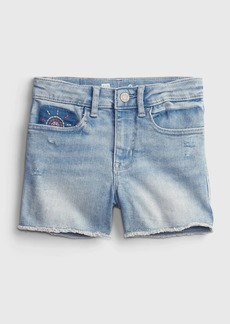 Gap Kids High Rise Embroidered Denim Shortie Shorts with Washwell&#153