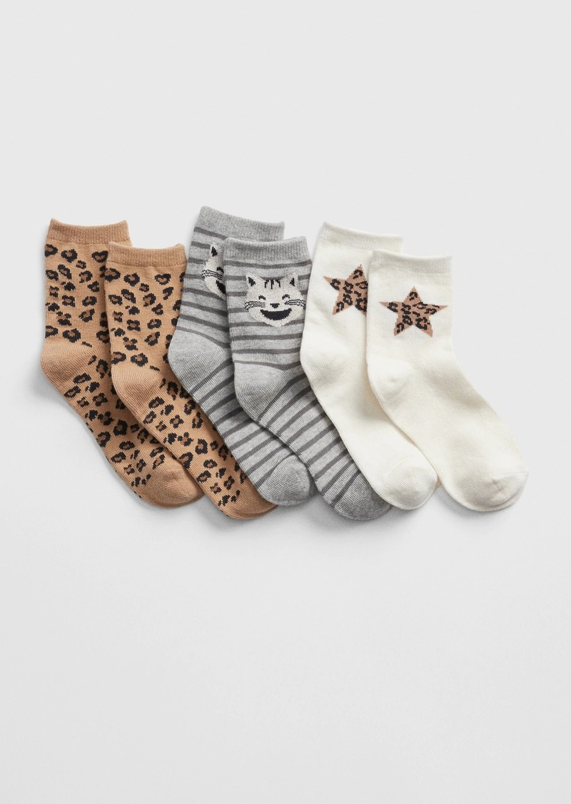 Gap Kids Leopard Crew Socks (3-Pack)