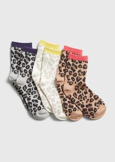 Gap Kids Leopard Print Crew Socks (3-Pack)