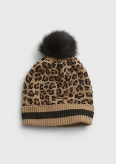 Gap Kids Leopard Print Pom Hat