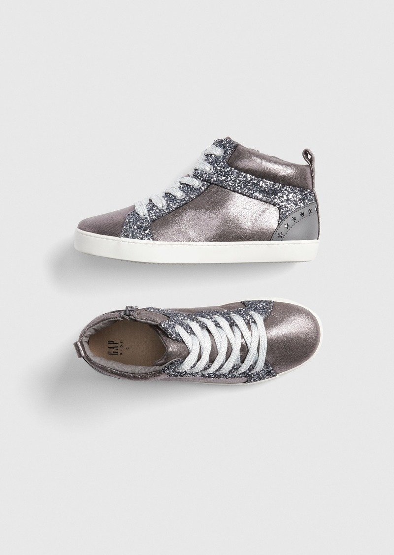 Gap Kids Metallic Glitter Hi-Top Sneakers