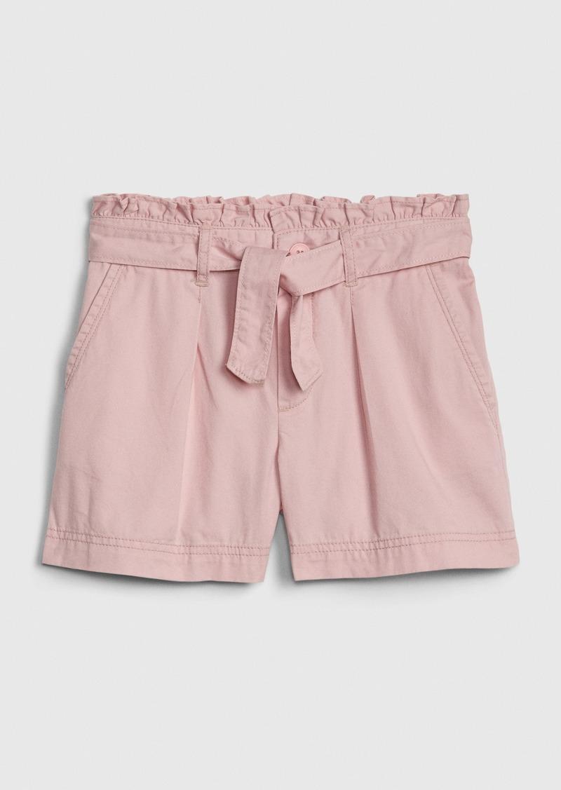 Gap Kids Paperbag-Waist Twill Shorts