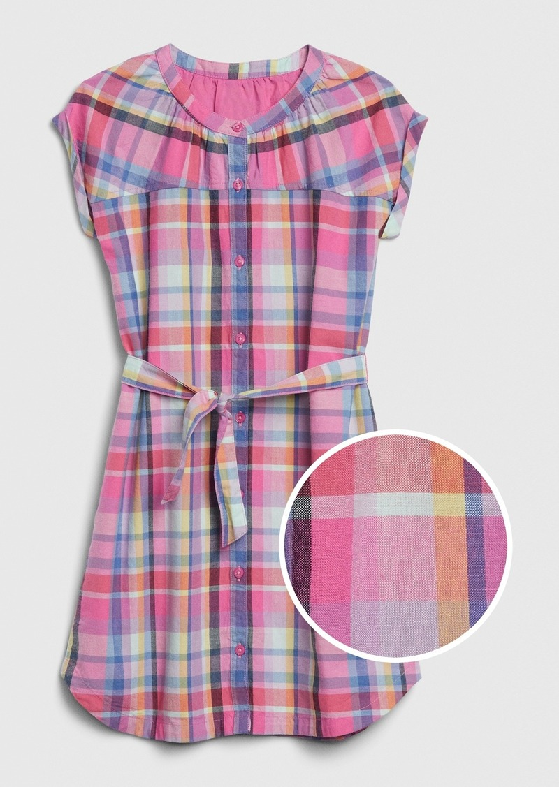 Gap Kids Plaid Tie-Belt Shirtdress