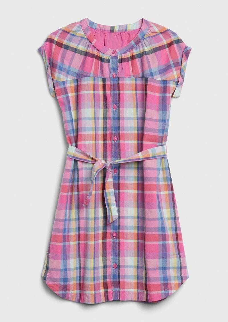 Gap Kids Plaid Tie-Belt Shirtdress