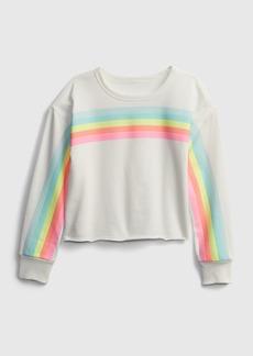 Gap Kids Printed Cut-Off Crop Crewneck Sweatshirt