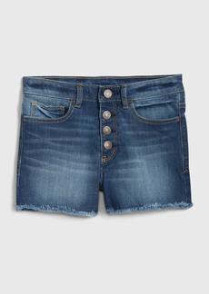 Gap Kids Raw-Hem High Rise Denim Shorts