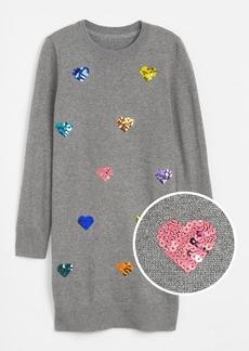 Gap Kids Sequin Heart Sweater Dress