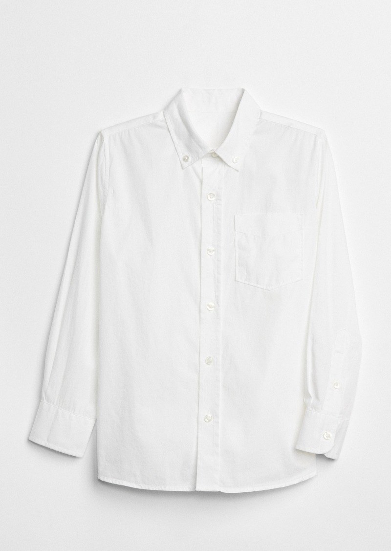 Gap Kids Uniform Poplin Long Sleeve Shirt