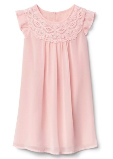 Gap Lace neckline flutter dress