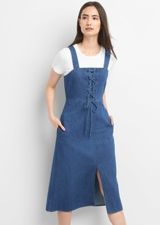 Gap Lace-Up Denim Tank Midi Dress