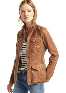 Gap Leather utility moto jacket