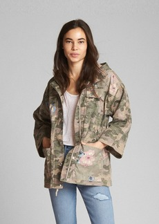 Gap Limited Edition Camo and Floral Print Hooded Utility Jacket
