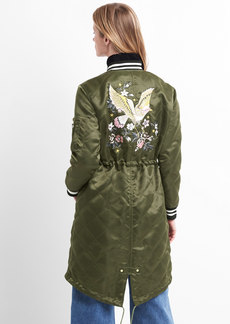 Gap Limited Edition long embroidered quilted bomber