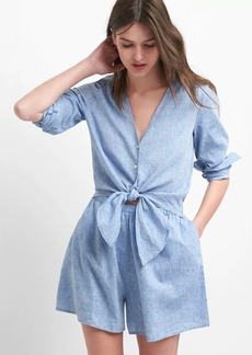 Gap Linen-cotton tie romper