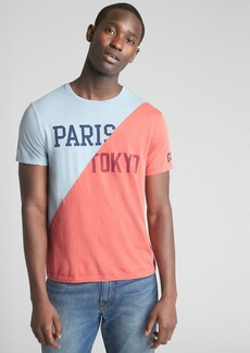 Gap Logo Global Remix Spliced Graphic Short Sleeve T-Shirt