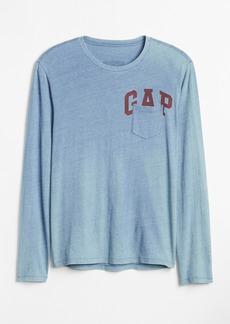 Gap Logo Graphic Indigo Long Sleeve Crewneck T-Shirt