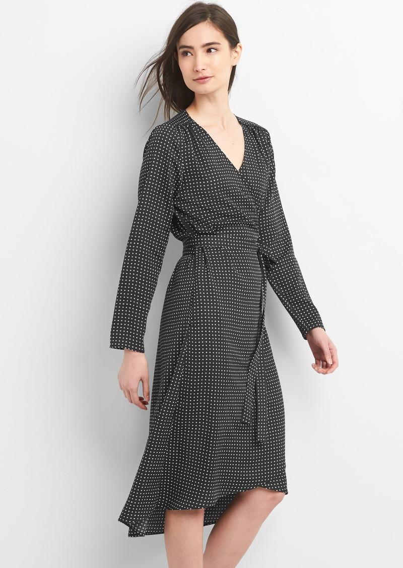 acf2c978bbe3 Gap Long sleeve print midi wrap dress